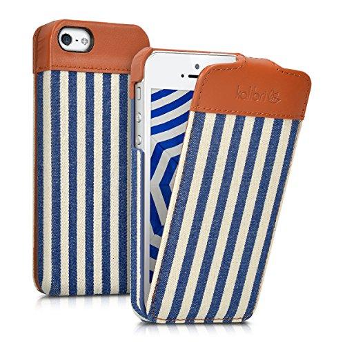 kalibri-Flip-Case-Hlle-Emma-fr-Apple-iPhone-SE-5-5S-Aufklappbare-Stoff-und-Echtleder-Schutzhlle-Tasche-im-Flip-Cover-Style-im-Streifen-Design