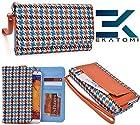Ekatomi ™ METRO RETRO Wallet Wirstlet Case Clutch Cover ( TEAL- ORANGE ) Nokia Lumia 1520