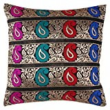 Hashcart Silk Cushion Covers In Multicolor Finish (16x16) Inches - Set Of 2