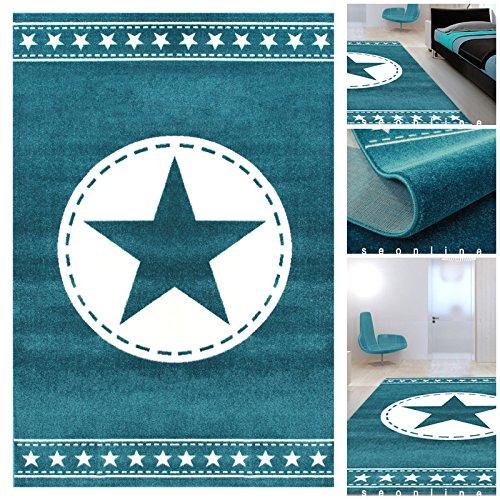 jugendzimmer teppiche blau weiss mit exklusivem stern teppiche m ko tex geeignet auch f rs. Black Bedroom Furniture Sets. Home Design Ideas