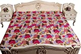 Kantha Stitch Quilt Floral Print Double Bedspread & Bed Cover Kantha Light Brown 90x108 Inches