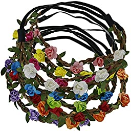 QingHan 9pcs Baby Girl Fashion Bohemian Flower Crown Floral Garland Headbands For Girls