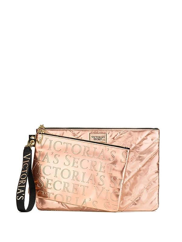 Victoria's Secret Rose Gold Cosmetic Bag & Clutch 2 Pc Set (Color: White)
