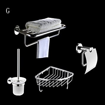 Stainless Steel Pendant Set Towel Rack Toilet Paper Box Toilet Brush Rack Bathroom Hardware Rack Set (4) ( Size : G )