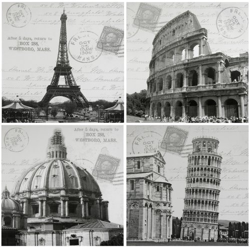 "Affordable & Beautiful Large Wall Decor - 4pcs - 31.5"" European Architectural Icons - Mixed Media Canvas Art Prints"