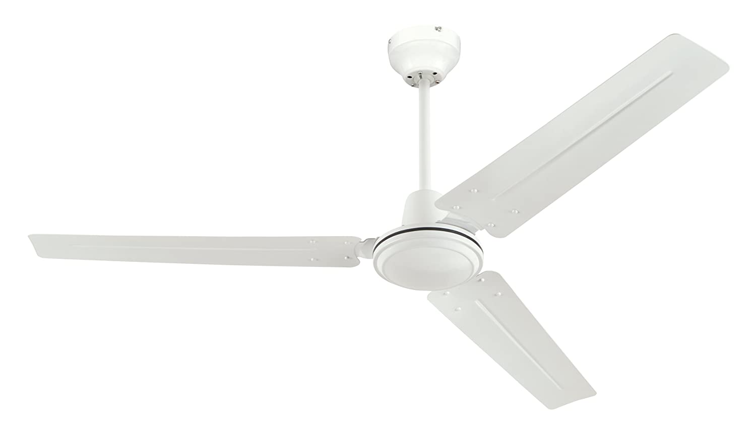 Three 3 blade ceiling fan white room industrial commercial for Best size ceiling fan for a 10x10 room