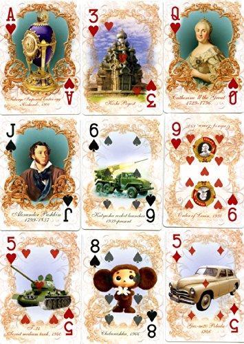 Spielkarten 52 Bilder über Russland Dostoevsky, Pushkin, Kreml
