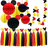 Mickey Mouse Party Decoration Kit, Colorful Mickey Paper Honeycomb Balls, Red Yellow and Black Tassel Garland Tissue Felt Banner Kids Birthday Themed Party Ideas Classroom Decoration (Color: Red Yellow Black)