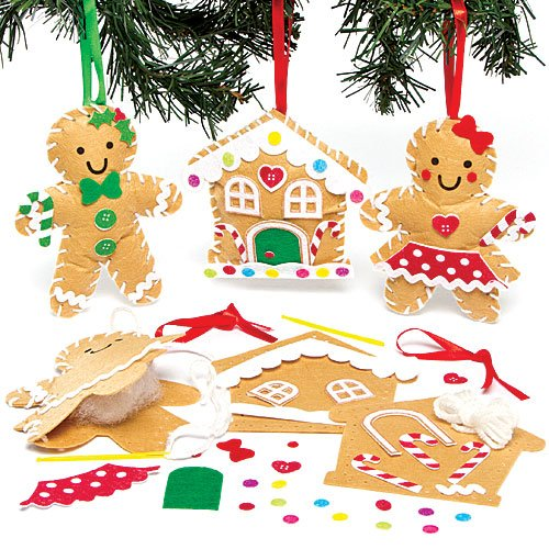 Gingerbread Man Sewing Decoration Kits for Children to Make Decorate and Hang on Xmas Tree (Pack of 3)
