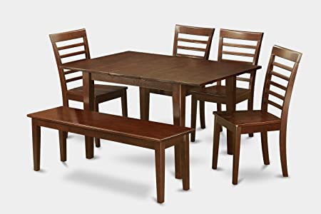East West Furniture MILA6D-MAH-W 6-Piece Kitchen Nook Dining Table Set