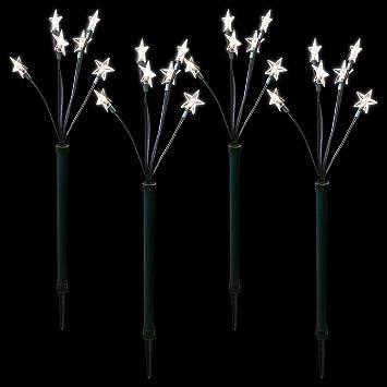 Elektrische Weihnachtsbeleuchtung Garten.4x Led Garten Leuchtstäbe Sternenstäbe 66cm 24 Led Lichter Mit