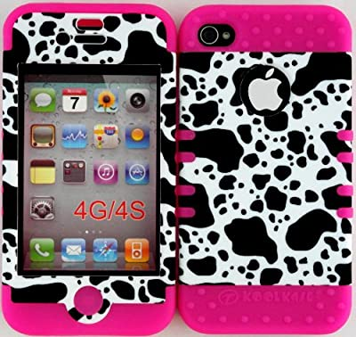 Click for Hybrid Cover Case for Iphone 4 4s Cow Print Hard Plastic Snap on Pink Silicone Gel