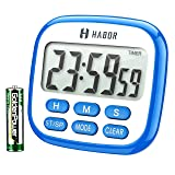 Habor Digital Kitchen Timer Large, Strong Magnet Back, Loud Alarm, Memory Function 12-Hour Display Clock, Count-Up & Count Down for Cooking Baking Sports Games Office (Color: Blue)