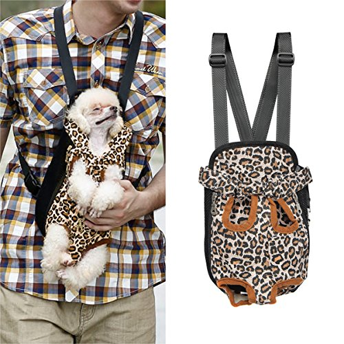 Pet Dog Cat Puppy Carrier Backpack Front Tote Nylon Bag Travel Hiking Riding (Leopard, S)