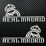 Real Madrid CF レアル・マドリード 小サイズ カーステッカー デカール 【ステッカー貼付説明書付】 (シルバー/サイドミラーサイズ2枚)
