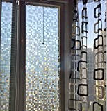 Coavas 17.7Inch By 78 Inch Privacy Film No-Glue Mosaic Frosted Window Film