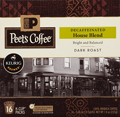 Peets Coffee & Tea Single Cup Coffee, Decaf House Blend, 16 Count (Peets Keurig Coffee Cups compare prices)