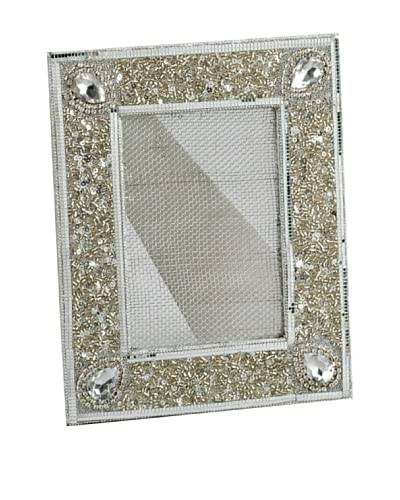 Silver Beaded Metal Mesh Earring Stand