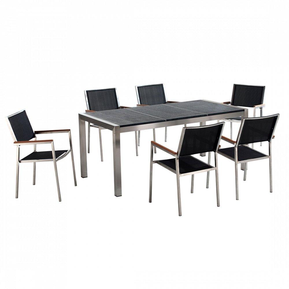 Gartenmöbel schwarz geflammt - Granit Edelstahltisch 180cm dreifach mit 6 x Stühle mit Textilsitzfläche - GROSSETO