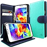 Galaxy S5 Case, Caseology [Stand View] Samsung Galaxy S5 Case [Turquoise Mint] Premium PU Leather [Wallet Case] with Built-in Media Stand, ID Credit Card / Cash Slots and Inner Pocket (Samsung Galaxy S5 For Verizon, AT&T Sprint, T-mobile, Unlocked)