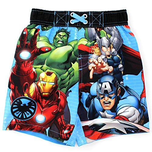 Avengers Boys Swim Trunks Swimwear (2T, Blue Coded Marvel)
