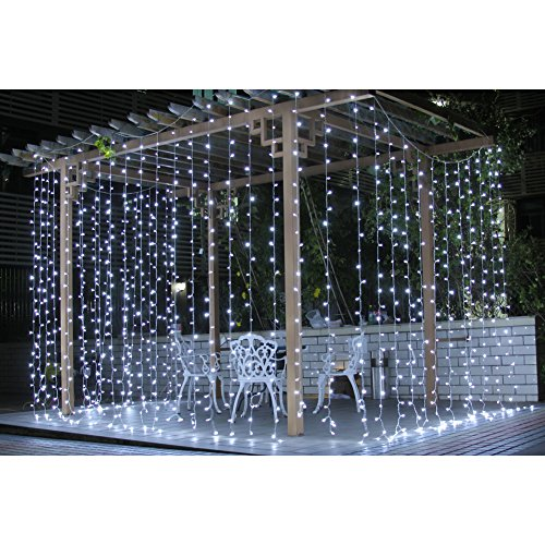 Fuloon 8M X 3M 800 Led Outdoor Party Christmas Xmas Hotels Restaurants Window String Fairy Wedding Curtain Decorative Light 8 Modes 110V White