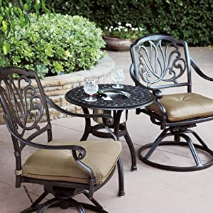 Amazon Com Darlee Elisabeth 2 Person Cast Aluminum Patio Bistro Set With Ice Bucket Insert