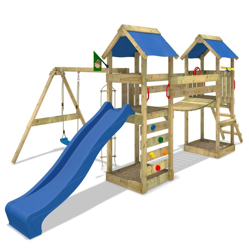 WICKEY Sunflyer Spielturm Rutsche Schaukel Sandkasten Blaue Rutsche / Blaue Plane jetzt bestellen