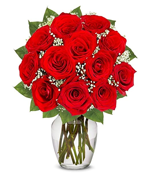 From You Flowers | One Dozen Long Stemmed Red Roses | Free Vase Included
