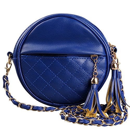 Hynes Eagle Girl'S Oval Quilted Tassels Crossbody Chain Strap Purse Bag (Blue)