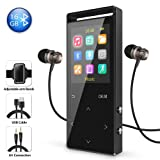 16GB Bluetooth MP3 Player with FM Radio/Voice Recorder, 60 Hours Playback, Lossless Sound,Metal Touch button, 1.8 Inch Color Screen, HD Sound Quality Earphone, with an Armband, Black and Bluetooth (Color: Black-01)