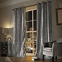 "Kylie Minogue Iliana Silver 90x72"" 229x183cm Lined Velvet Ring Top Curtains from Kylie Minogue"