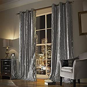 "Kylie Minogue Iliana Silver 66x54"" 168x137cm Lined Velvet Ring Top Curtains from Kylie Minogue"
