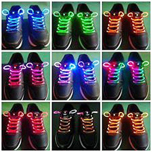 Voberry® Newest Hot Sale Fashion Led Light Up Flashing Shoelaces Necklaces Eyes-Catching Suitable For Parties, Hip-Hop, Dancing, Night Jogging(Colorful)