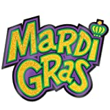 Glittered Mardi Gras Sign Party Accessory (1 count)