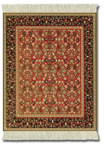 Lextra (Mughal Lotus), Mouse Rug, Orange/Olive Green/Black/Red, 10.25 x 7.125 Inches, One (MMF-1)