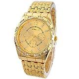 Teresamoon watch, Luxury Metal Stainless steel Quartz Wrist Watch (Gold)