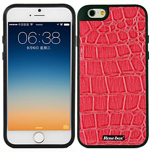 RoseBox® iPhone 6 Plus Case Apple iPhone 6 Plus Case 5.5 Case Inch Hybrid Soft Silicone Crocodile leather texture Protective Bumper Case for Apple Iphone 6 plus(5.5 inch) (Rose Pink Crocodile leather texture)