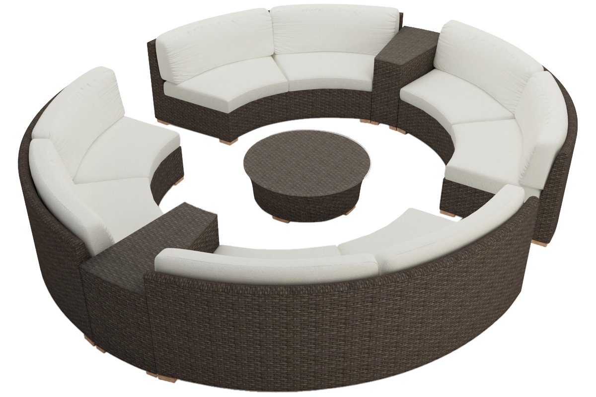 Harmonia Living 7 Piece Arden Curved Sectional Cushion Set - Canvas Natural