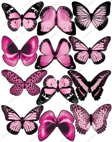 12 x Décorations Papillons PRÉ-DÉCOUPÉES Rose Pâle clair comestibles Cakeshop