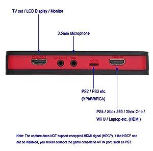 HD Game Video Capture Box Card HDMI 1080P Recorder Device w