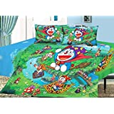 Sassoon Doraemon Baby Themes Cotton Double Bedsheet With Pillow Cover - Multicolor