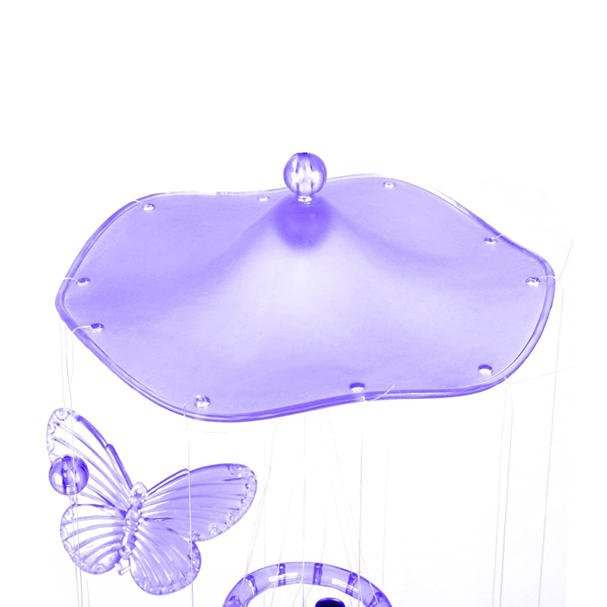 Soledi Creative Crystal Butterfly Mobile Wind Chime Bell Garden Ornament Lucky Gift Yard Garden Living Hanging Decor Art Purple