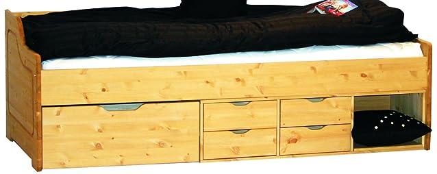 Letto contenitori letto singolo in legno massello 205x98x66