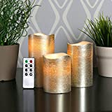 Set of 3 Metallic Wax Flameless Candles with Timer and Remote- Champagne
