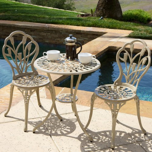 Premium 3 Piece Bistro Patio Cast Aluminium Sturdy Furniture Set - Sand Color - Guarantee Great Sale Item Price - These Outdoor Sets Are Perfect for Your Patio , Garden, Lawn or Balcony - Comes with 1 Table & 2 Chairs