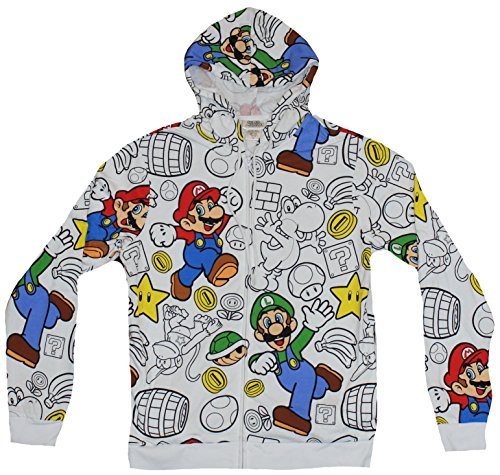 Super Mario Brothers Mens Zip Up Hoodie Sweatshirt - Mario & Luigi & Coins