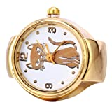 Academyus Fashion Lovely Cute Cat Flower Quartz Finger Women's Ring Watch - 5 (Color: 5)