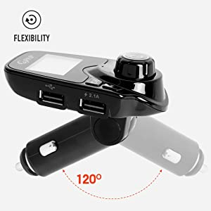 Car FM Transmitter Bluetooth Adaptor Kit Audio Receiver 2.1A USB Charger with 1.44inch Display, TF Card Slot, AUX Port & Hands-Free Calling