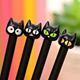 Slendima 0.5 mm 4 Pcs Kawaii Black Cat Gel Pen, School Office Cartoon Animal Writing Stationery Student Gift Size 1 (Color: 1, Tamaño: 1)